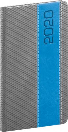 Kapesní diář Davos 2020, šedomodrý, 9 × 15,5 cm