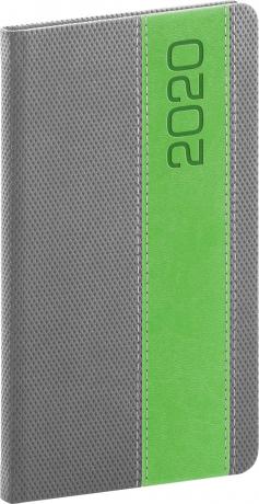 Kapesní diář Davos 2020, šedozelený, 9 × 15,5 cm
