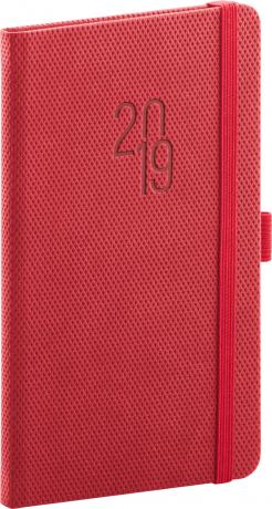 Kapesní diář Diamante 2019, červený, 9 x 15,5 cm