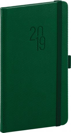 Kapesní diář Diamante 2019, zelený, 9 x 15,5 cm