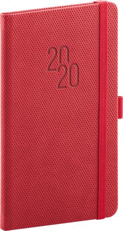Kapesní diář Diamante 2020, červený, 9 × 15,5 cm