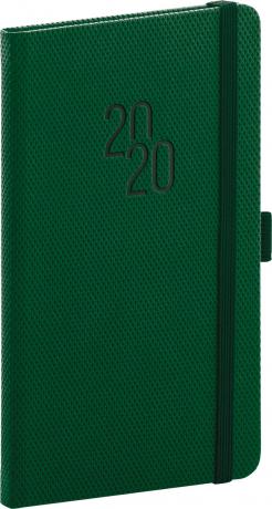 Kapesní diář Diamante 2020, zelený, 9 × 15,5 cm