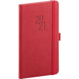 Pocket diary Diamante red 2021, 9 × 15,5 cm