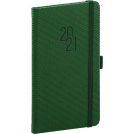 Pocket diary Diamante green 2021, 9 × 15,5 cm