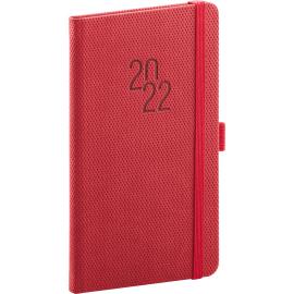 Kapesní diář Diamante 2022, červený, 9 × 15,5 cm