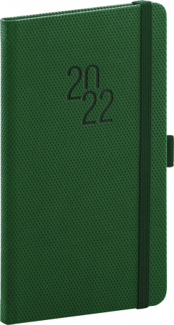 Kapesní diář Diamante 2022, zelený, 9 × 15,5 cm