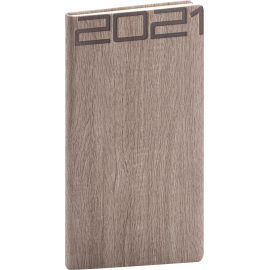 Kapesní diář Forest 2021, hnědý, 9 × 15,5 cm