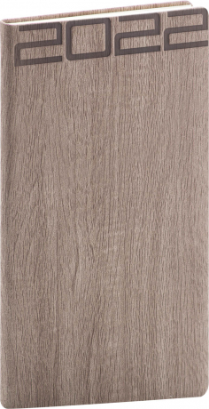 Kapesní diář Forest 2022, hnědý, 9 × 15,5 cm