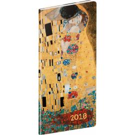 Pocket diary Klimt 2018, plánovací měsíční, 8 x 18 cm