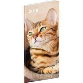 Kapesní diář Kočky 2018, plánovací měsíční, 8 x 18 cm