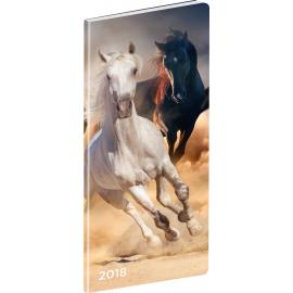 Pocket diary Koně 2018, plánovací měsíční, 8 x 18 cm