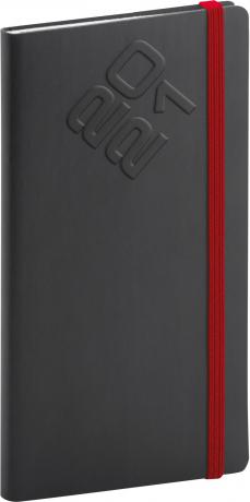 Kapesní diář Matra 2021, černočervený, 9 × 15,5 cm