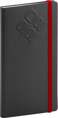 Kapesní diář Matra 2022, černočervený, 9 × 15,5 cm