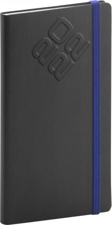 Kapesní diář Matra 2022, černomodrý, 9 × 15,5 cm