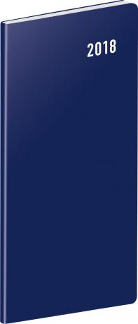Kapesní diář Modrý 2018, plánovací měsíční, 8 x 18 cm