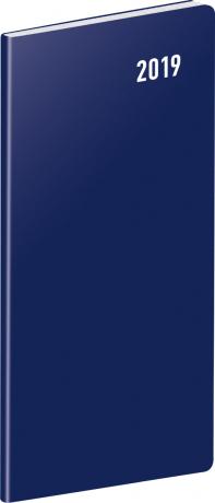 Kapesní diář Modrý 2019, plánovací měsíční, 8 x 18 cm