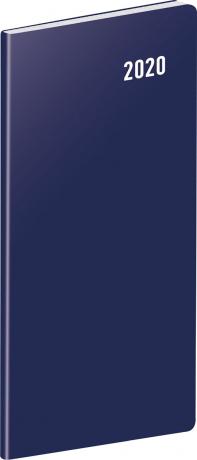 Kapesní diář Modrý 2020, plánovací měsíční, 8 × 18 cm