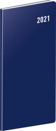 Kapesní diář Modrý 2021, plánovací měsíční, 8 × 18 cm
