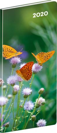 Kapesní diář Motýle SK 2020, plánovací měsíční, 8 × 18 cm