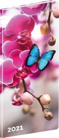 Kapesní diář Motýli 2021, plánovací měsíční, 8 × 18 cm