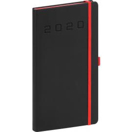 Kapesní diář Nox 2020, černý-červený 9 × 15,5 cm