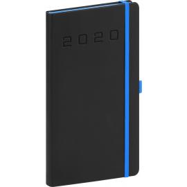 Kapesní diář Nox 2020, černý-modrý 9 × 15,5 cm
