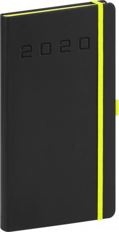 Kapesní diář Nox 2020, černý-zelený 9 × 15,5 cm