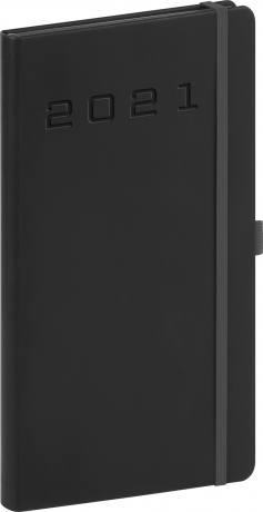 Kapesní diář Nox 2021, černý-černý, 9 × 15,5 cm