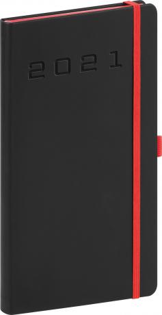 Kapesní diář Nox 2021, černý-červený, 9 × 15,5 cm