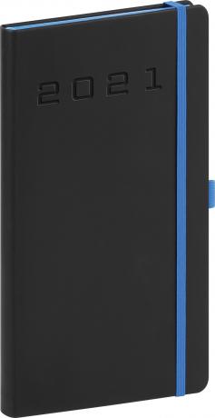 Kapesní diář Nox 2021, černý-modrý, 9 × 15,5 cm