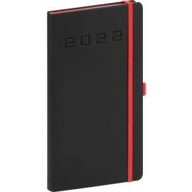 Kapesní diář Nox 2022, černý–červený, 9 × 15,5 cm