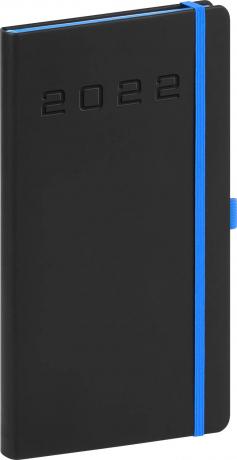 Kapesní diář Nox 2022, černý–modrý, 9 × 15,5 cm