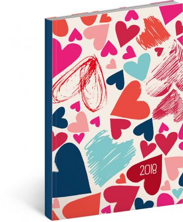 Pocket diary Petito – Srdíčka 2018, 9,8 × 14,5 cm