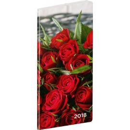 Pocket diary Růže 2018, plánovací měsíční, 8 x 18 cm