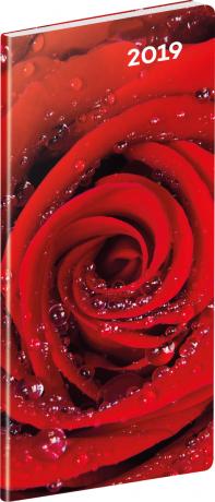 Kapesní diář Růže 2019, plánovací měsíční, 8 x 18 cm