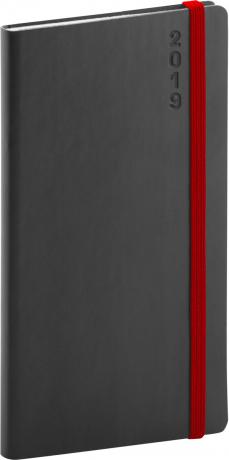 Kapesní diář Soft 2019, černý, 9 x 15,5 cm