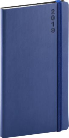 Kapesní diář Soft 2019, modrý, 9 x 15,5 cm