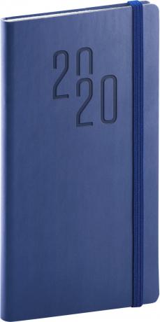 Kapesní diář Soft 2020, modrý, 9 × 15,5 cm