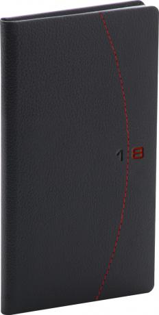 Kapesní diář Tailor 2018, černočervený, 9 x 15,5 cm