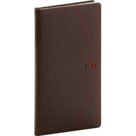 Pocket diary Tailor brown-red 2019, 9 x 15,5 cm