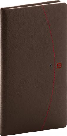 Kapesní diář Tailor 2019, hnědý, 9 x 15,5 cm