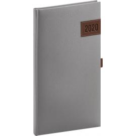 Kapesní diář Tarbes 2020, stříbrný 9 × 15,5 cm