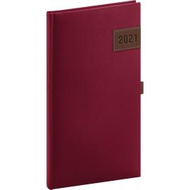 Kapesní diář Tarbes 2021, červený, 9 × 15,5 cm