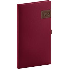 Kapesní diář Tarbes 2022, červený, 9 × 15,5 cm