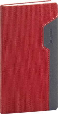 Kapesní diář Thun 2018, červenočerný, 9 x 15,5 cm