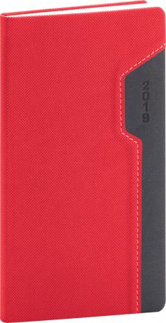 Kapesní diář Thun 2019, červený, 9 x 15,5 cm