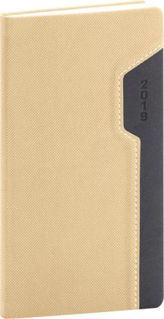 Kapesní diář Thun 2019, krémový, 9 x 15,5 cm