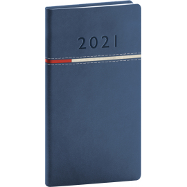 Pocket diary Tomy blue-red 2021, 9 × 15,5 cm