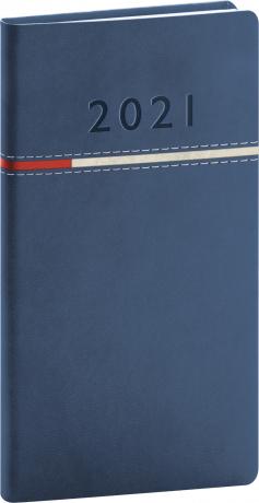 Kapesní diář Tomy 2021, modročervený, 9 × 15,5 cm