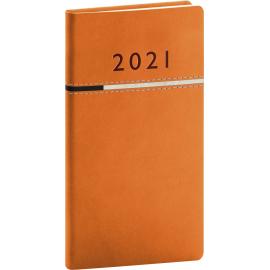 Kapesní diář Tomy 2021, oranžovočerný, 9 × 15,5 cm